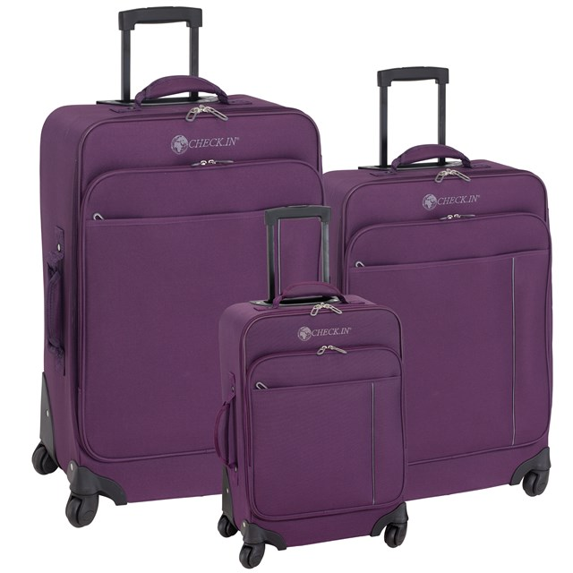 Trolley-Set MADRID grey / purple 56-2210701